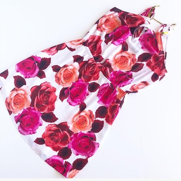 bebe Dresses & Skirts - Bebe pink floral dress with gold necklace